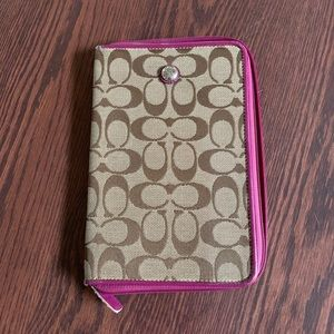 Coach Tablet Cover, Pink and Signature Brown